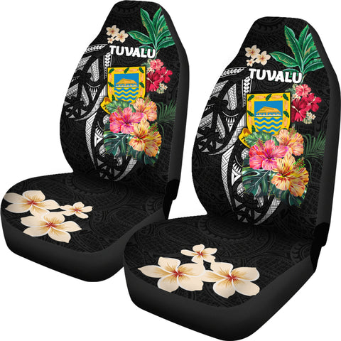 Tuvalu Car Seat Covers Coat Of Arms Polynesian With Hibiscus TH5