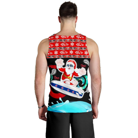 New Zealand Santa Christmas Men Tank Top Pohutukawa Fern And Kiwi Back | 1sttheworld.com