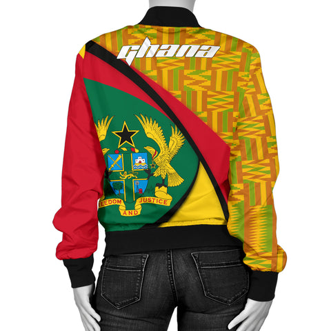 1stTheWorld Ghana Bomber Jacket, Ghana Coat Of Arms Pattern Women A10