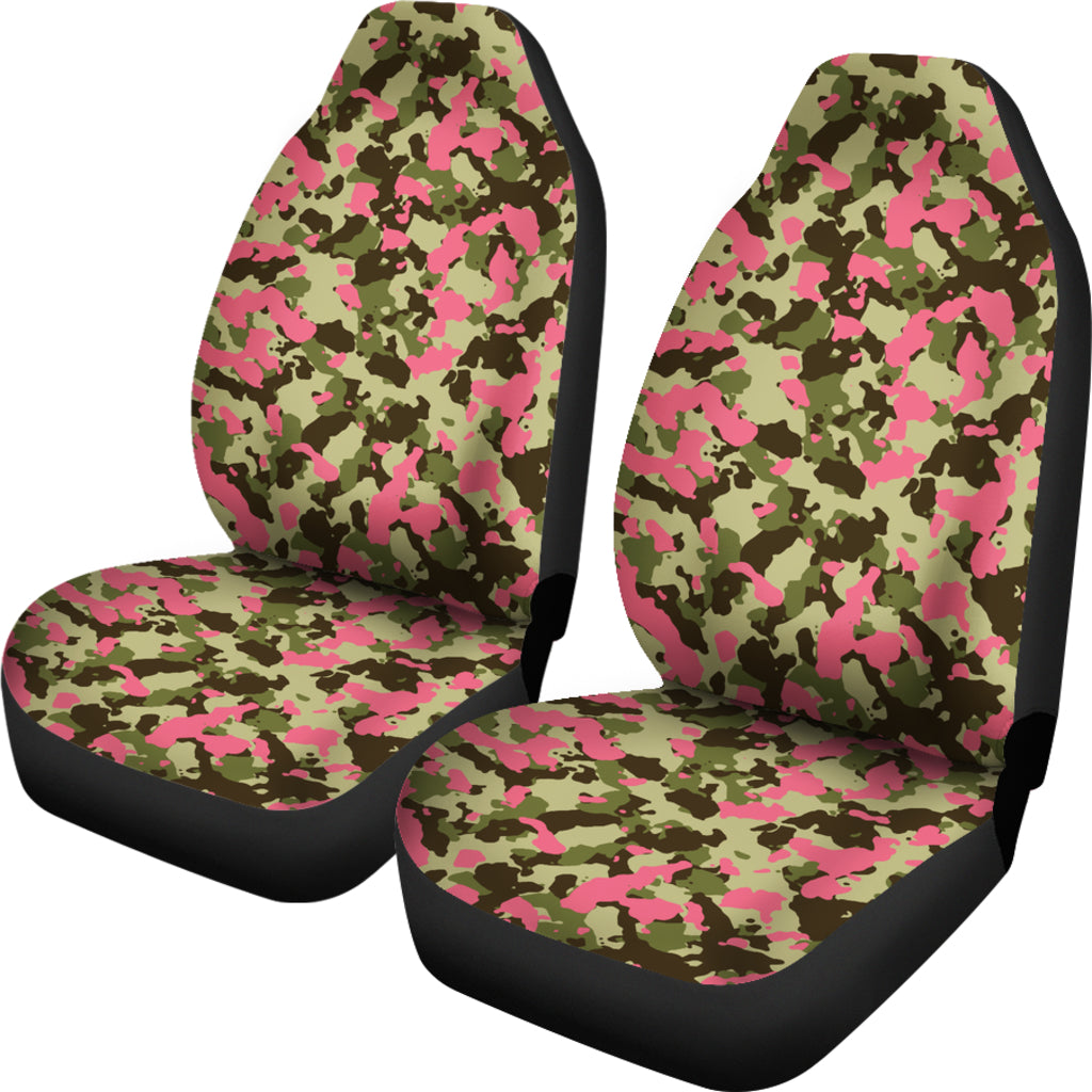 Green And Pink Camo Car Seat Cover