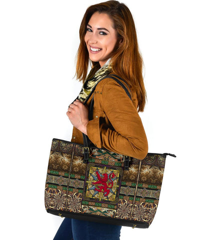 Scotland Leather Tote - Scotland Lion With Celtic Compass