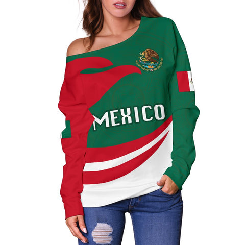 Image of Mexico Women Off Shoulder Sweater Proud Version | 1sttheworld