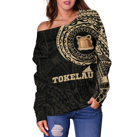 Tokelau Polynesian Tattoo Style Off Shoulder Sweater A7