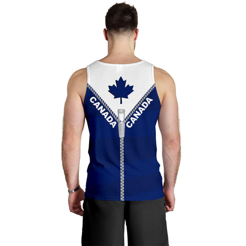Canada Men Tank Top With Straight Zipper Style Blue K52