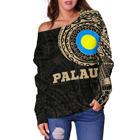 Palau Polynesian Tattoo Style Off Shoulder Sweater A7