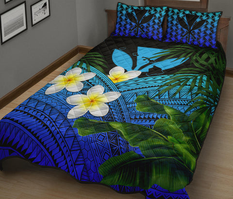 Kanaka Maoli (Hawaiian) Quilt Bed Set, Polynesian Plumeria Banana Leaves Blue | Love The World