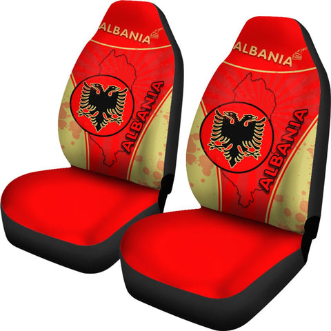 Albania Car Seat Covers Circle Stripes Flag Version 1 | 1sttheworld