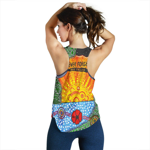 Aboriginal Australian Anzac Day Women Racerback Tank - Lest We Forget Poppy 2