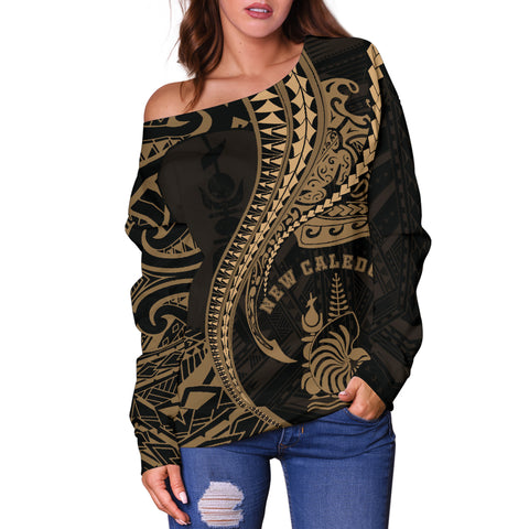 New Caledonia Women's Off Shoulder Sweater Kanaloa Tatau Gen NC (Gold) TH65