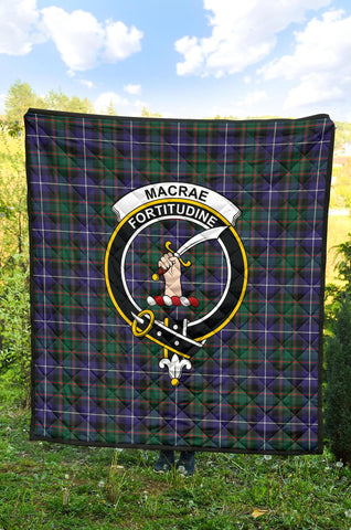 Image of MacRae Hunting Modern Tartan Clan Badge Premium Quilt | 1sttheworld.com