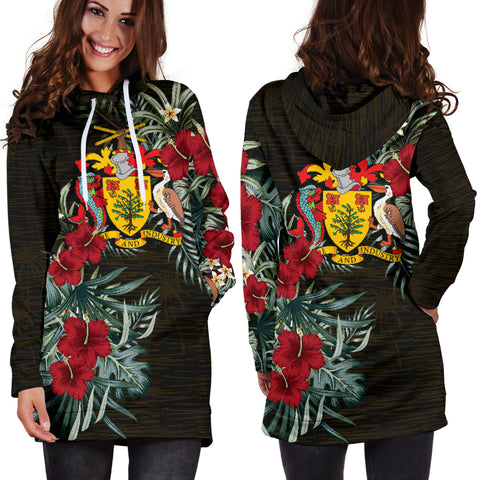 Image of Barbados 1 Hibiscus Hoodie Dress A7