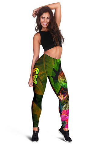 American Samoa Polynesian Women's Leggings -  Hibiscus and Banana Leaves