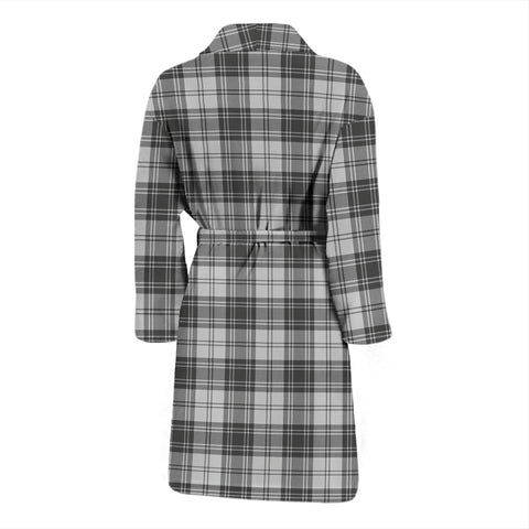 Douglas Grey Modern Bathrobe - Men Tartan Plaid Bathrobe Universal Fit