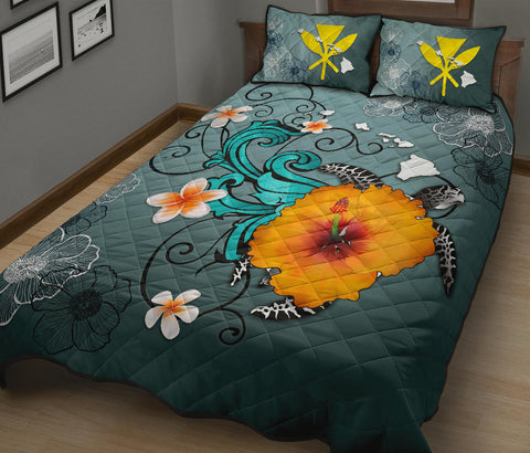 Hawaii Quilt Bed Set - Map Turtle Hibiscus A24