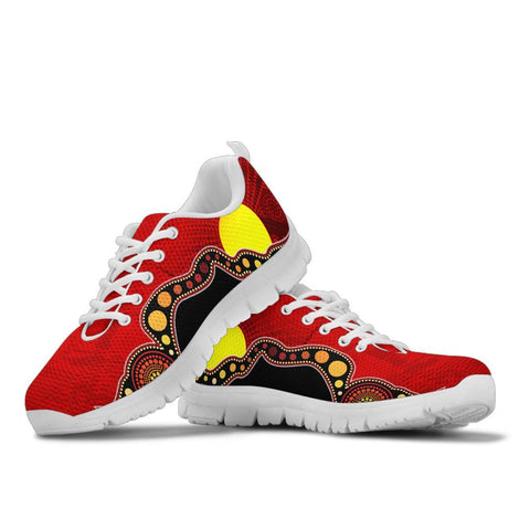Australia Aboriginal Sneakers - Australia Indigenous Flag Circle Dot Painting Art