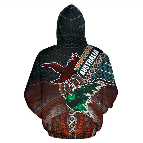 Image of Australia Aboriginal Crow Hoodie - Art Color - Back