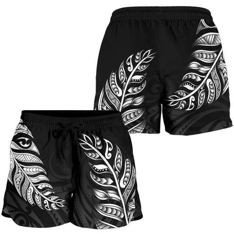 1stTheWorld Custom Aotearoa New Zealand - Maori Silver Fern Women Shorts Black A10
