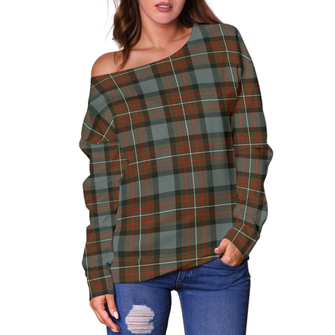 Image of Tartan Womens Off Shoulder Sweater - Fergusson Weathered - Bn