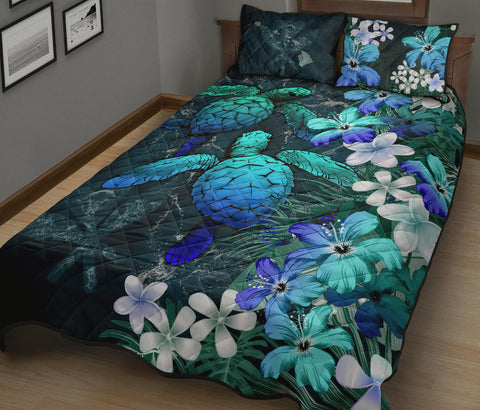 Image of Kanaka Maoli (Hawaiian) Quilt Bed set - Sea Turtle Tropical Hibiscus And Plumeria | Love The World