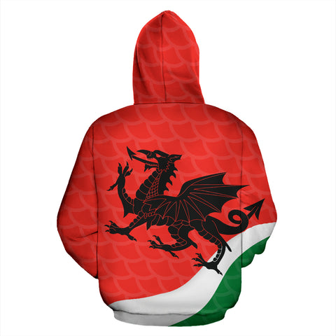 Wales Rugby Dragon Zip Up Hoodie K4