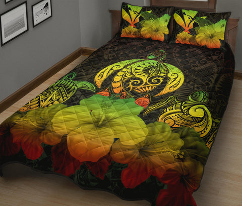 Kanaka Maoli (Hawaiian) Quilt Bed Set Reggae Turtle Polynesian with Hibiscus TH5