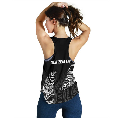Image of 1stTheWorld Custom Aotearoa New Zealand - Maori Silver Fern Racerback Tank Black A10