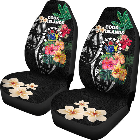 Cook Islands Car Seat Covers Coat Of Arms Polynesian With Hibiscus TH5