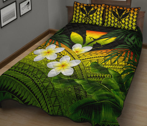 Kanaka Maoli (Hawaiian) Quilt Bed Set, Polynesian Plumeria Banana Leaves Reggae | Love The World