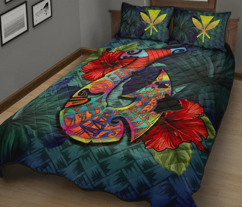 Image of Kanaka Maoli (Hawaiian) Quilt Bed Set - Polynesian Fish Hook Hibiscus A24