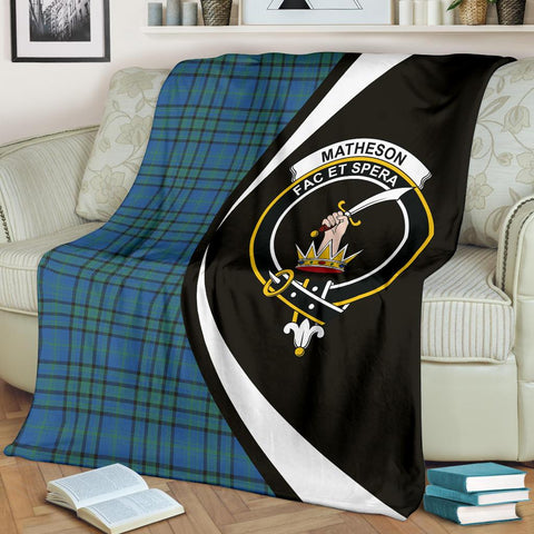 Matheson Hunting Ancient Tartan Clan Crest Premium Blanket Hj4