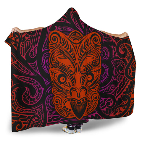 New Zealand Aotearoa Maori Mask Hooded Blanket | 1sttheworld
