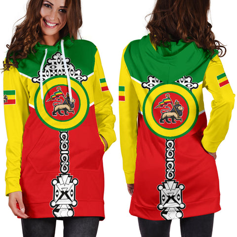 Image of Ethiopian Hoodie Dress, Ethiopia Rising Coptic Cross Lion Women A10