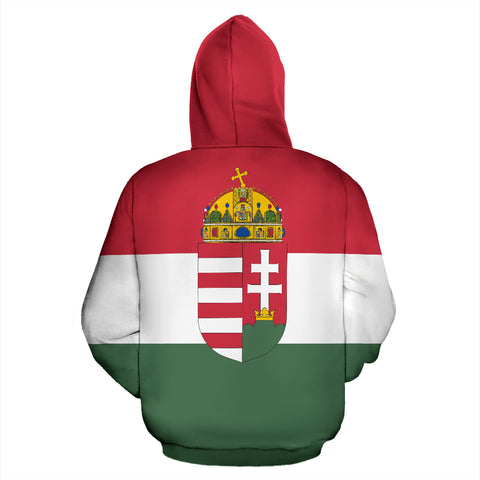 Hungary Flag and Coat of Arms Zip Up Hoodie - Back - Hoodie Red mix White and Green color - by 1sttheworld for Men and Women