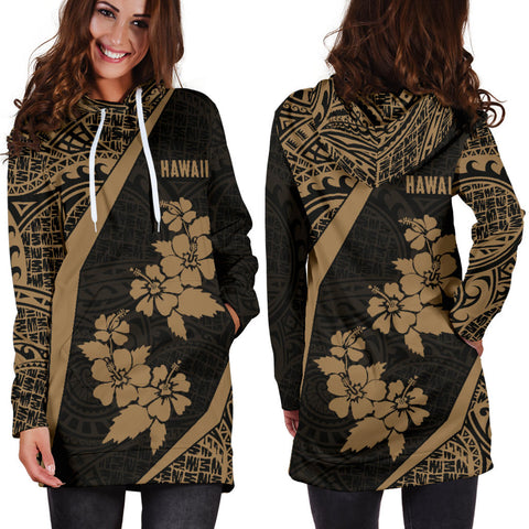 Hawaii Polynesian Women's Hoodie Dress Hibiscus Gold Th5 |Women's Clothing| 1sttheworld