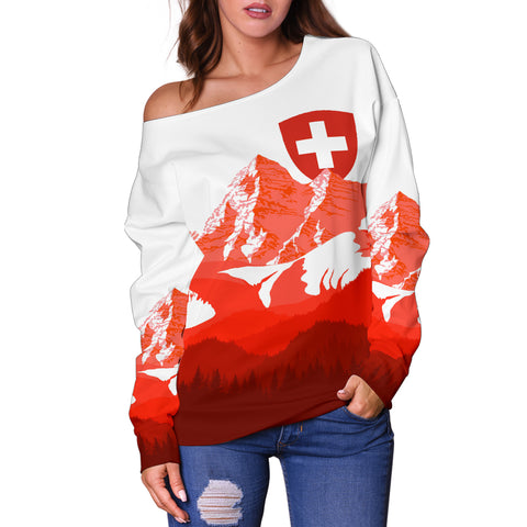 Switzerland Women's Off Shoulder Sweater - Swiss Alps Th5