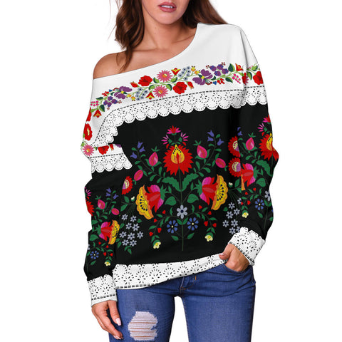Hungarian Folk Art Off Shoulder Sweater - Front - Women's Clothing