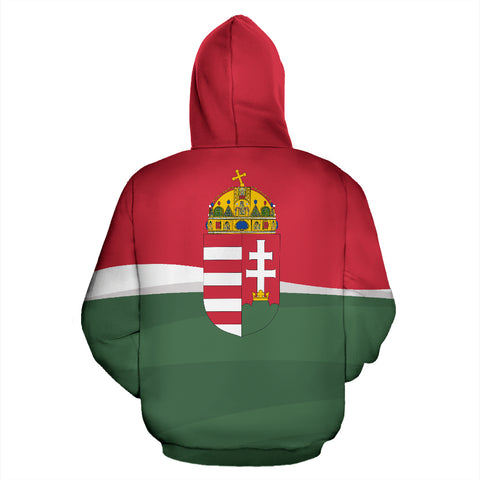 Hungary Zip Up Hoodie - Red mix White and Green color - Back - For Men and Women
