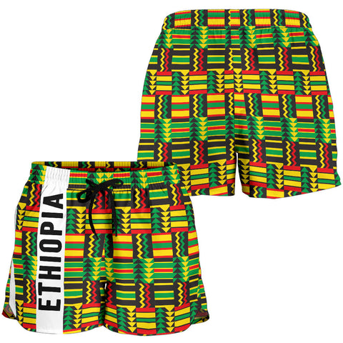 Image of 1stTheWorld Ethiopia Shorts, Ethiopia Stripe African Pattern Women A10