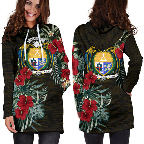 Image of Nauru 1 Hibiscus Hoodie Dress A7