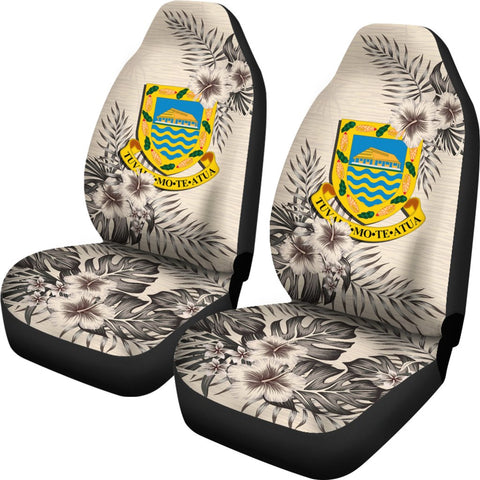Tuvalu Car Seat Covers - The Beige Hibiscus (Set of Two) | High Quality