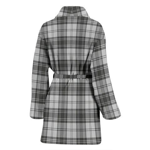 Image of Douglas Grey Modern Bathrobe - Women Tartan Plaid Bathrobe Universal Fit