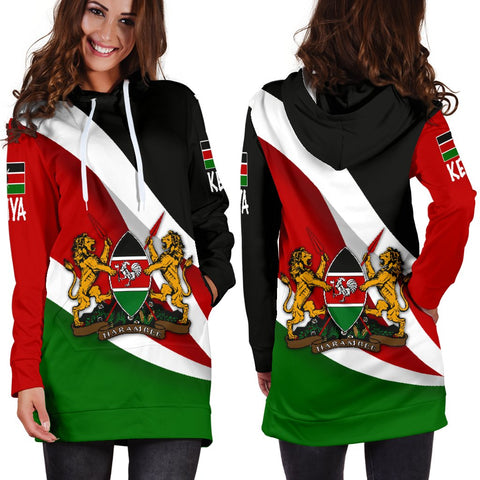 Kenya Impressive Flag Hoodie Dress A15
