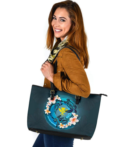 Image of Kanaka Maoli (Hawaiian) Leather Tote  - Blue Plumeria Animal Tattoo | Love The World