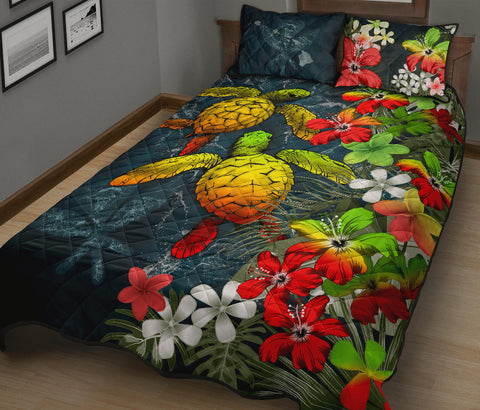 Kanaka Maoli (Hawaiian) Quilt Bed set - Sea Turtle Tropical Hibiscus And Plumeria | Love The World