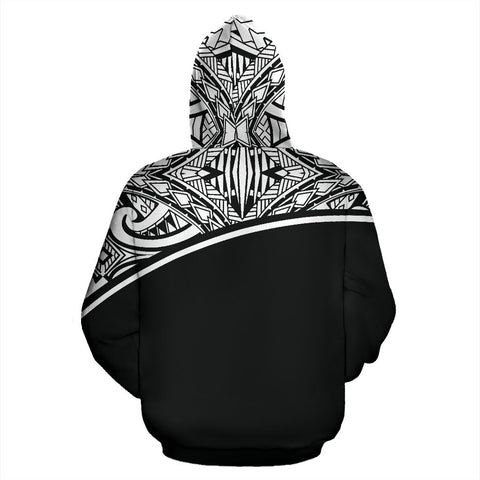 Poly All Over Print Hoodie - Polynesian Curve Black Custom Style - BN09