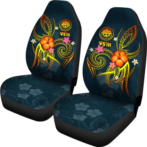 Federated States of Micronesia Polynesian Car Seat Covers - Legend of FSM (Blue)