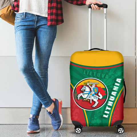 Lithuania - Lietuva Luggage Covers Circle Stripes Flag Proud Version 1 | 1sttheworld
