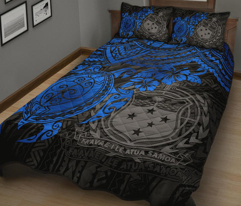 Samoa Polynesian Quilt Bed Set - Blue Turtle - BN1518