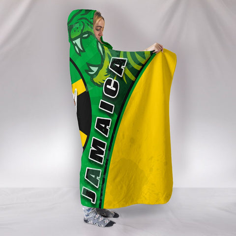 Jamaica Lion Hooded Blanket Circle Stripes Flag Version 1 | 1sttheworld