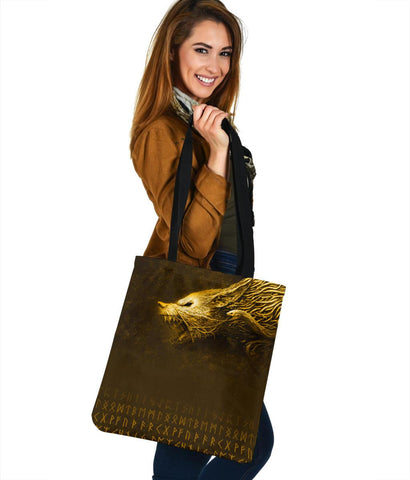 Image of Viking Style Fenrir Yellow Tote Bag A31